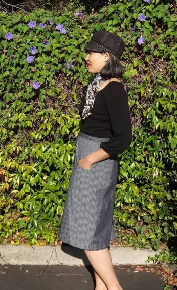 A-Frame Skirt - Blueprints for Sewing - side view - pencil skirt - csews.com