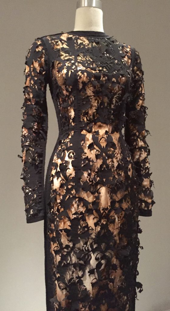 Manus x Machina - Golden Lily dress by Marios Schwab - fall/winter 2008-09, pret-a-porter - mahcine-sewn digitally printed georgette silk with overlay of laser-cut black-silk grosgrain