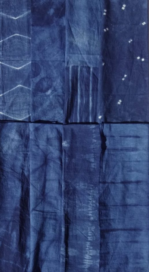 Shibori skirt fabric - indigo dye - 8 designs