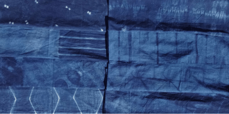 Shibori indigo dyed fabric for a skirt