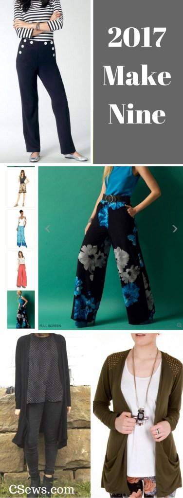 2017 Make Nine - sewing plans for the coming year - Vogue 1464, Butterick 5893, Megan Longline Cardigan by Tessuti, Jalie 3248 drop-pocket cardigan
