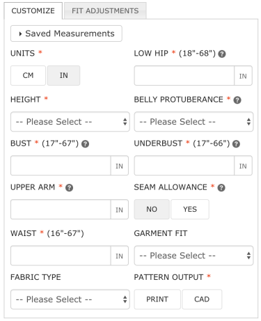Body measurements to enter on Bootstrap Fashion custom sewing patterns