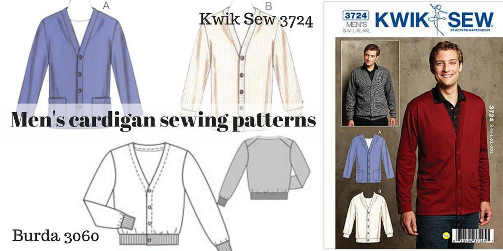 Men's Cardigan sewing patterns – Kwik Sew 3724 and Burda 6030