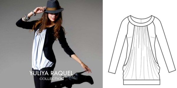 Front Drape Tunic, a custom-fit sewing pattern by Yuliya Raquel