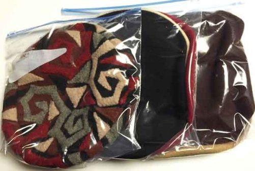 Hats in zip lock bags