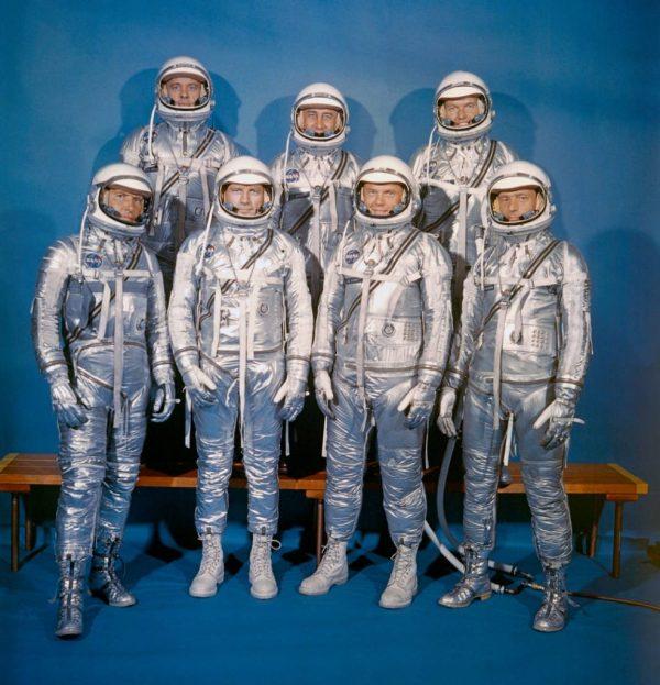 "On April 9, 1959, NASA introduced its first astronaut class, the Mercury 7. Front row, left to right: Walter M. Schirra, Jr., Donald K. ""Deke"" Slayton, John H. Glenn, Jr., and M. Scott Carpenter; back row, Alan B. Shepard, Jr., Virgil I. ""Gus"" Grissom, and L. Gordon Cooper, Jr. Photo credit: NASA"