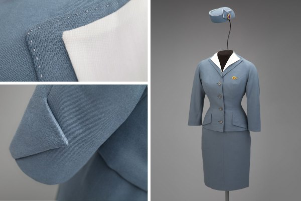 Pan American World Airways stewardess uniform by Don Loper 1959 Collection of SFO Museum Gift of Jane Luna Euler/Beatrice H. Springer/John J. Dunne Photo credit: SFO Museum