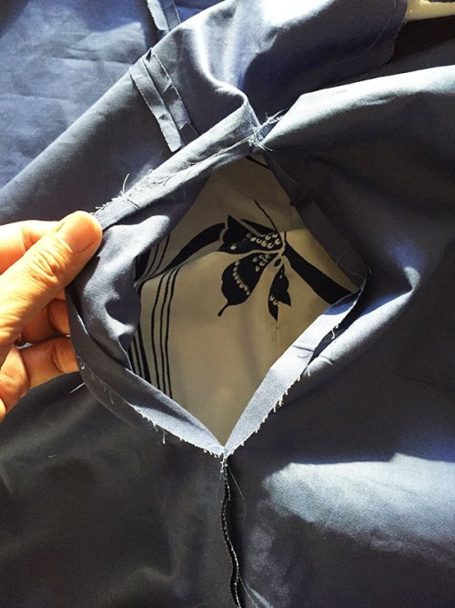 Sapporo Coat - opening to turn coat inside out - C Sews