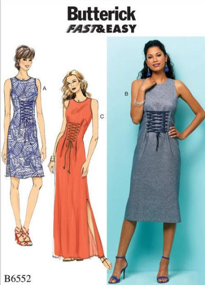 Big Four 2018 Spring Patterns - B6552-Butterick dress pattern with lace-up front