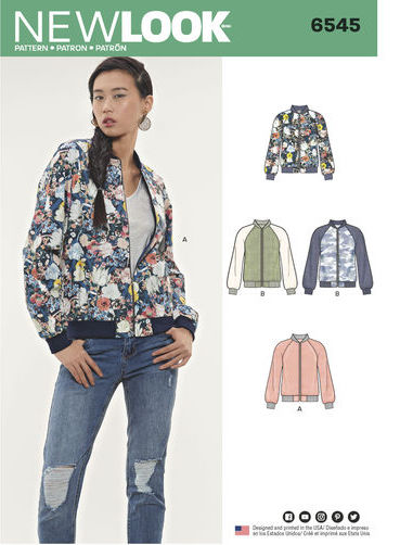 Big Four 2018 Spring Patterns - New Look 6545 - flight jacket pattern - CSews.com