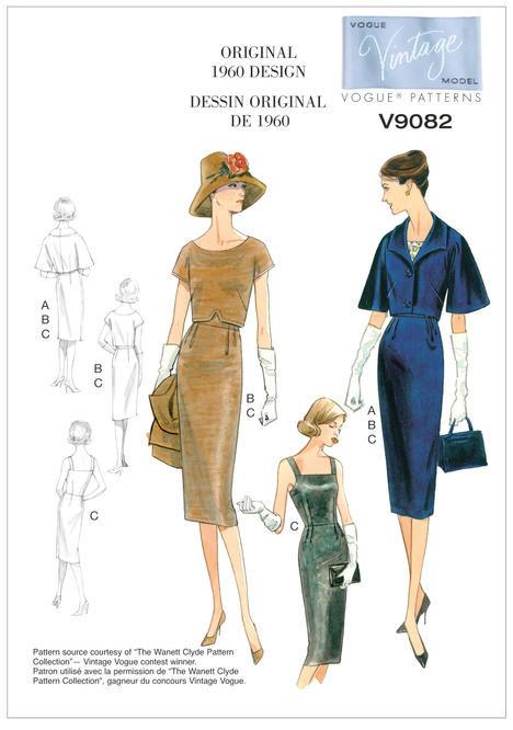 V9082 - Vintage Vogue sewing patterns - 1960 - dolman-sleeve jacket, top and dress