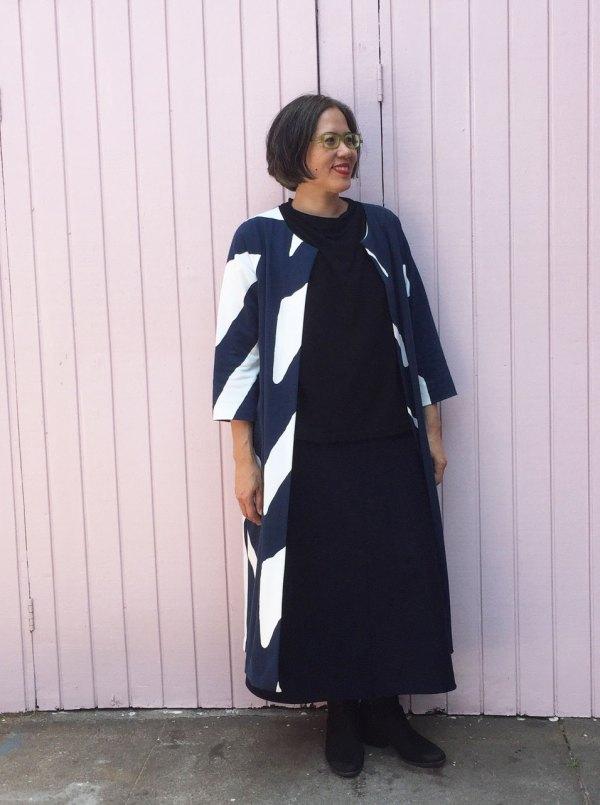 Knit ensemble - Pilvi Coat, Toaster Sweater 2 and denim knit skirt from Alabama Chanin Studio Sewing + Design - CSews.com