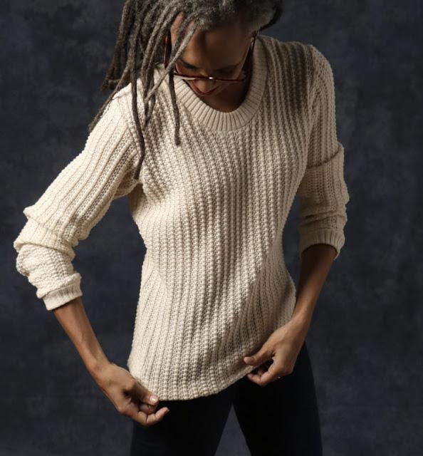 Olgalyn Jolly in sweater she sewed