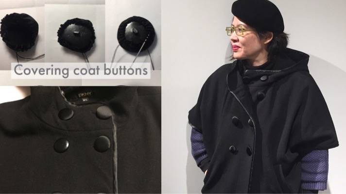 Refreshing an old coat by covering the buttons - CSews.com