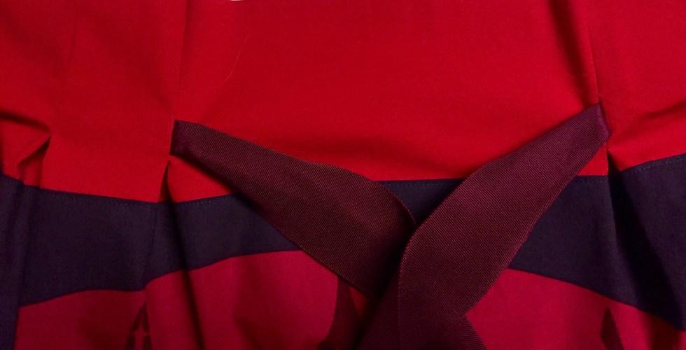 Frocktails skirt - ribbon at waist sewn into inverted box pleats - CSews.com
