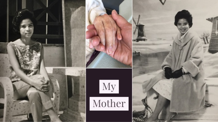 Black and white photos of my mother in the 1960s and our hands
