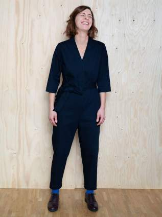 Model wearing V-Neck Jumpsuit by The Assembly Line - pattern in my sewing queue