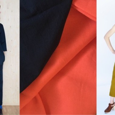 Models wearing V-Neck Jumpsuit, Free-Range Slacks,fabric