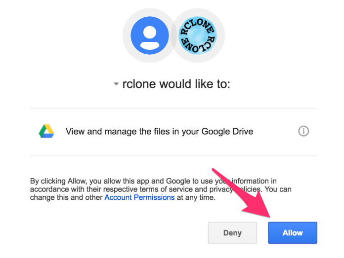 Give Google Drive permission to Rclone