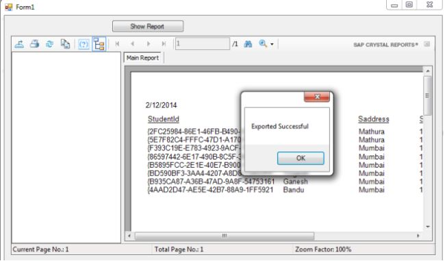 Export Crystal Reports to PDF in C#