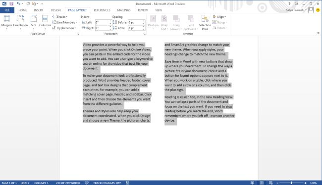 Multi-Column Format Document in Word 2013
