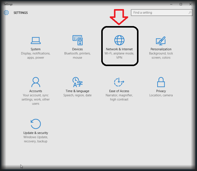 Network And Internet Setting In Windows 10