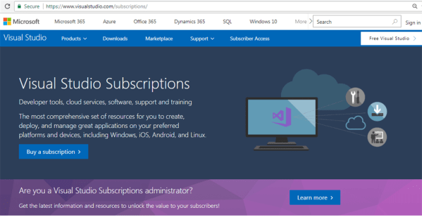 Get Or Activate Your MSDN Subscription For Visual Studio