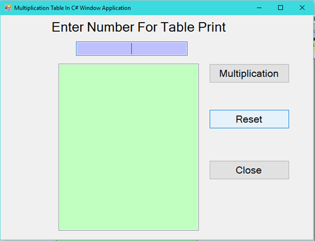 How To Create Multiplication Table In C# Window Application