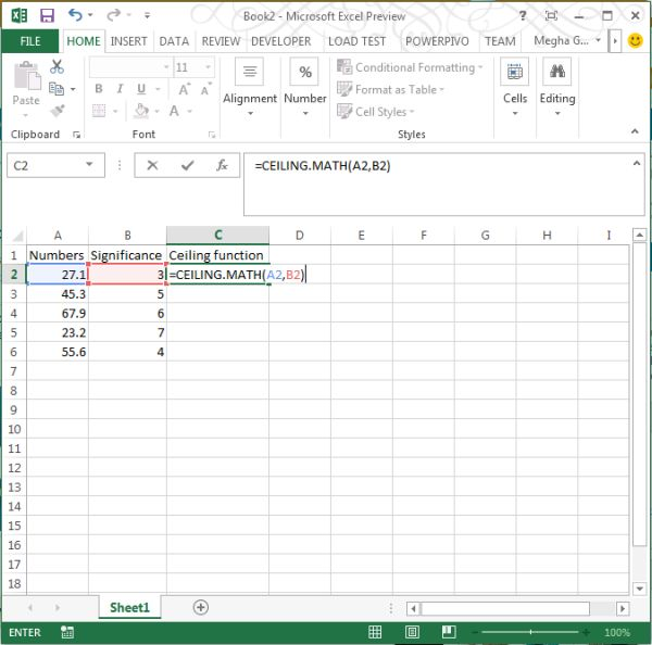 Ceiling.Math Function in Excel 2013