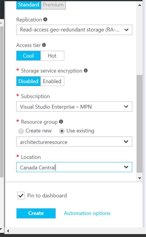 Azure Object (Blob) storage