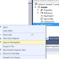 Visual Studio View Class Diagram 2000 Jeep Cherokee Headlight Switch Wiring Creating Your First Vsix Package Dzone Web Dev As I Mentioned Earlier We Ll Try To Create An Extension That Allows Us Open The Selected File In Windows Explorer Something Like Shown