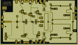 Low-noise 30 GHz receiver microwave integrated circuit designed by CSIRO and fabricated at TRW