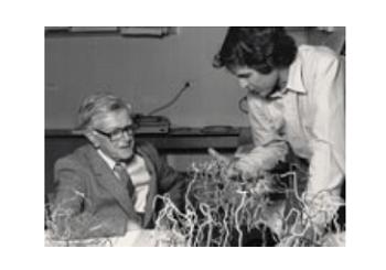 Peter Colman showing his flu protein model to Sir Macfarlane Burnet