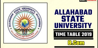 Allahabad State University BCom 1 2 3 Year Time Table 2019