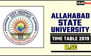 Allahabad State University BSC 1 2 3 Year Time Table 2019