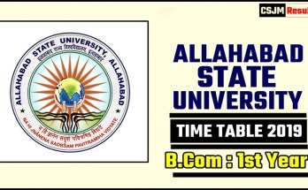 Allahabad State University Bcom 1 Year Time Table 2019