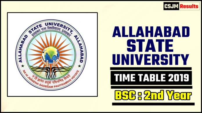 Allahabad State University Bsc 2 Year Time Table 2019