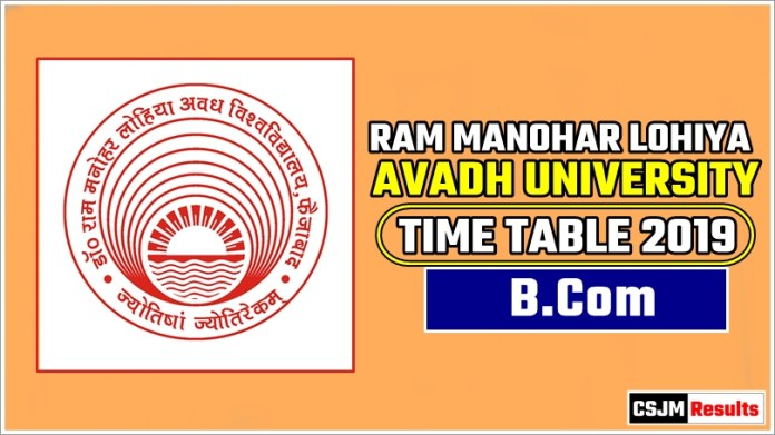 Avadh University [RMLAU] Bcom 1 2 3 Year Exam Scheme 2019