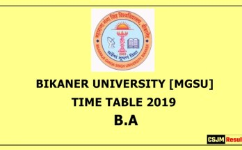 Bikaner University [MGSU] Time Table 2019 B.A