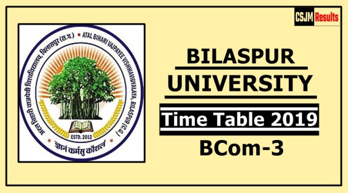 Bilaspur University BCom 3 Year Time Table 2019