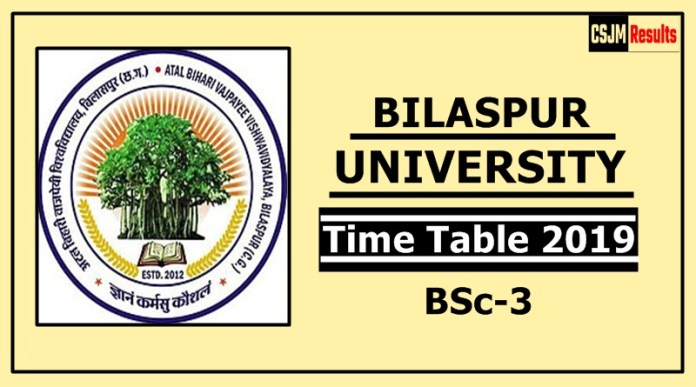 Bilaspur University BSc 3 Year Time Table 2019