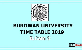 Burdwan University Time Table 2019 B.Com 3