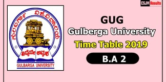 Gulberga University [GUG] B.A 2 Time Table 2019