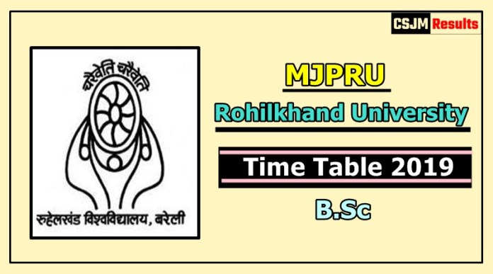 Rohilkhand University [MJPRU] B.Sc 1 2 3 Year Time Table 2019