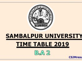 Sambalpur University Time Table 2019 B.A 2