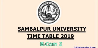 Sambalpur University Time Table 2019 B.Com 2