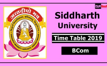 Siddharth University BCom 1 2 3 Year Time Table 2019