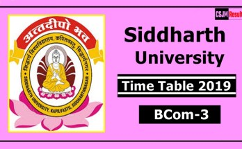 Siddharth University BCom 3 Year Time Table 2019