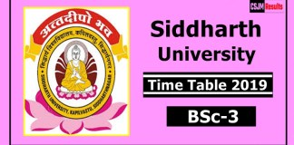 Siddharth University BSc 3 Year Time Table 2019