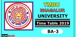 TMBU Bhagalpur University BA 3 Year Time Table 2019